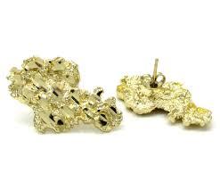 10k earrings 10k yellow gold diamond cut medium nugget earrings