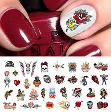 rockabilly tattoo skull nail art decals assortment 1 5 1 2