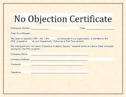 no objection letter for employee no objection certificate format for students gallery