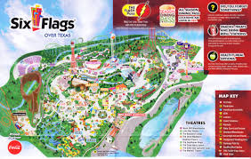 Six Flags Water Parks Six Flags Over Texas 2015 Park Map
