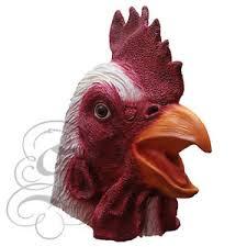 latex full head animal popular white rooster fancy dress up
