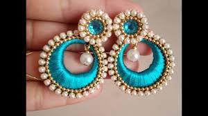 thread earrings how to make chandbali silk thread earrings tutorial