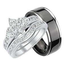 wedding rings his and hers inexpensive his and wedding ring sets look real not cheap
