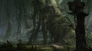 dark village wallpaper le nature landscapes trees forests fantasy world dark fog mist haze