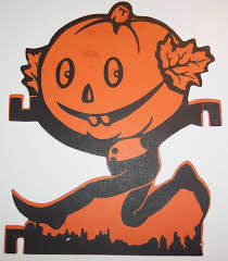 vintage halloween cut out pumpkin man running dave flickr