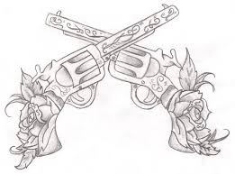 two crossing rose guns tattoo design by xnolovechaosx