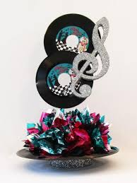 motownrock n roll musical ss s  more centerpieces  with rock n roll record centerpiece from designsbyginnymyshopifycom