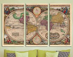 large world map canvas with wonders of the world home u0026