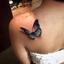 violet and green 3d butterfly for