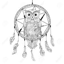 dreamcatcher owl tattoo art mystic symbol abstract feathers
