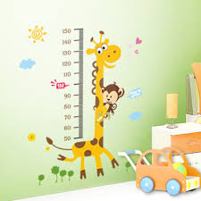popular kids removable wall stickers buy cheap kids removable wall 2017 cute giraffe monkey children s height stickers cartoon animals wall sticker decor removable wall decal kids