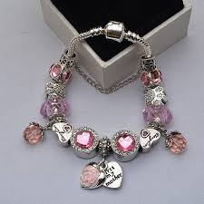 colored charm bracelet images Pink heart with rose colored crystals charm bracelets syrona jpg
