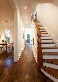 light wood floors trim staircase traditional with concrete