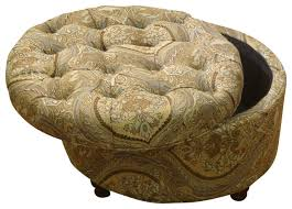 button tufted brown and teal paisley round storage ottoman 25