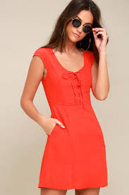 orange dress lace up dress coral dress skater dress