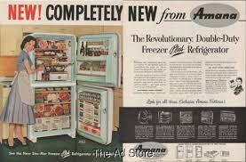 Home Decor Ads 1956 Amana Model 18 Refrigerator Vintage Retro 1950s Kitchen Home