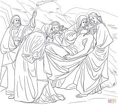 fourteenth station jesus is laid in the tomb coloring page free