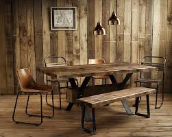 Plank Dining Room Table Vintage Industrial Rustic Reclaimed Plank Top Dining Table Uk
