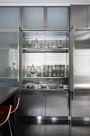 Stainless Steel And Frosted Glass Kitchen Cabinets Modern Kitchen - Kitchen steel cabinets