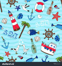 Nautical Themed Music - nautical themed vector seamless pattern retro stock vector