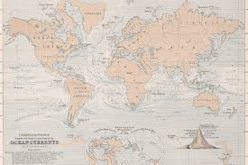 Map Of Ocean Currents Ocean Currents Vintage Map Mural Muralswallpaper Co Uk