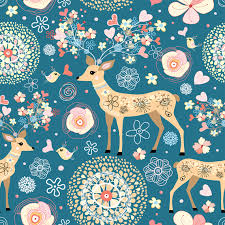 ornamental background with decorated deer vector