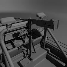army jeep with gun artstation army jeep with machine gun 3d model vishal solanki