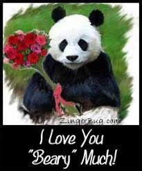 Cute I Love You Meme - i love you beary much panda glitter graphic greeting comment