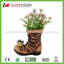 Design Flower Pots China New Design Resin Dog With Boot Flower Pots Puppy Garden