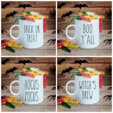 rae dunn inspired halloween sayings mug decal set of 4 stickie
