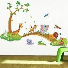 3d cartoon jungle wall stickers children room lion giraffe