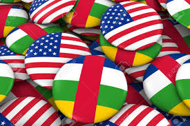 Afican Flag Usa And Central African Republic Badges Background Pile Of