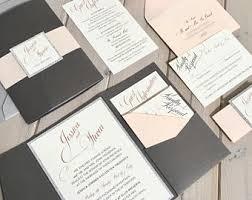 wedding pocket invitations pocket invitations etsy