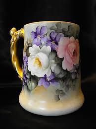 brittany tankard hairline antique jpl jean pouyat limoges france artist signed violets