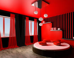 Trendy Black And Red Bedroom Decor With Red Bed Cover And Grey Fur - White and red bedroom designs