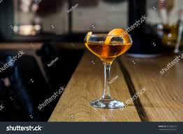 classic manhattan drink classic manhattan alcoholic cocktail served glass stock photo