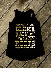 blame it all on my roots tank in black and gold women u0027s country