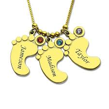 mother necklace images Gold color baby feet charm birthstone mother necklace personalized jpg