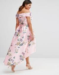 chi chi london plus printed bardot maxi dress with hi lo hem multi