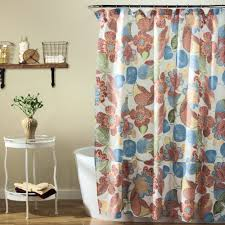 green with floral design ikat shower curtain for modern interior