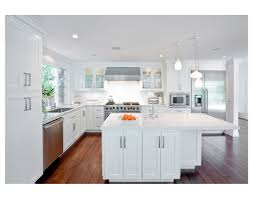 distressed white wooden counter island with white marble top in