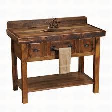 fireside lodge furniture barnwood two drawer open shelf vanity