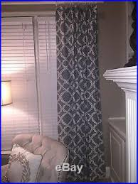 50 X 96 Curtains Lot Of 4 Pottery Barn Porcelain Blue Lined Kendra Trellis Drapes