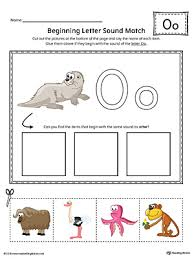 short letter o beginning sound picture match worksheet color
