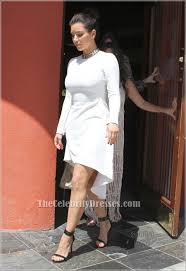 kim kardashian short white long sleeve asymmetrical party cocktail