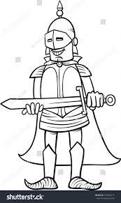 black white cartoon vector illustration knight stock vector