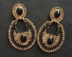 golden earrings black golden earrings lizaneya online jewellery shoping portal