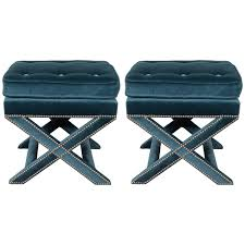 X Bench Ottoman Pair Of Mid Century X Benches In Jade Velvet With Chrome Nailhead