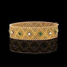 emerald diamond gold bracelet images Georges l 39 enfant emerald diamond 18k yellow gold bracelet french jpg