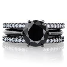 black wedding ring set enya s black cz row wedding ring set